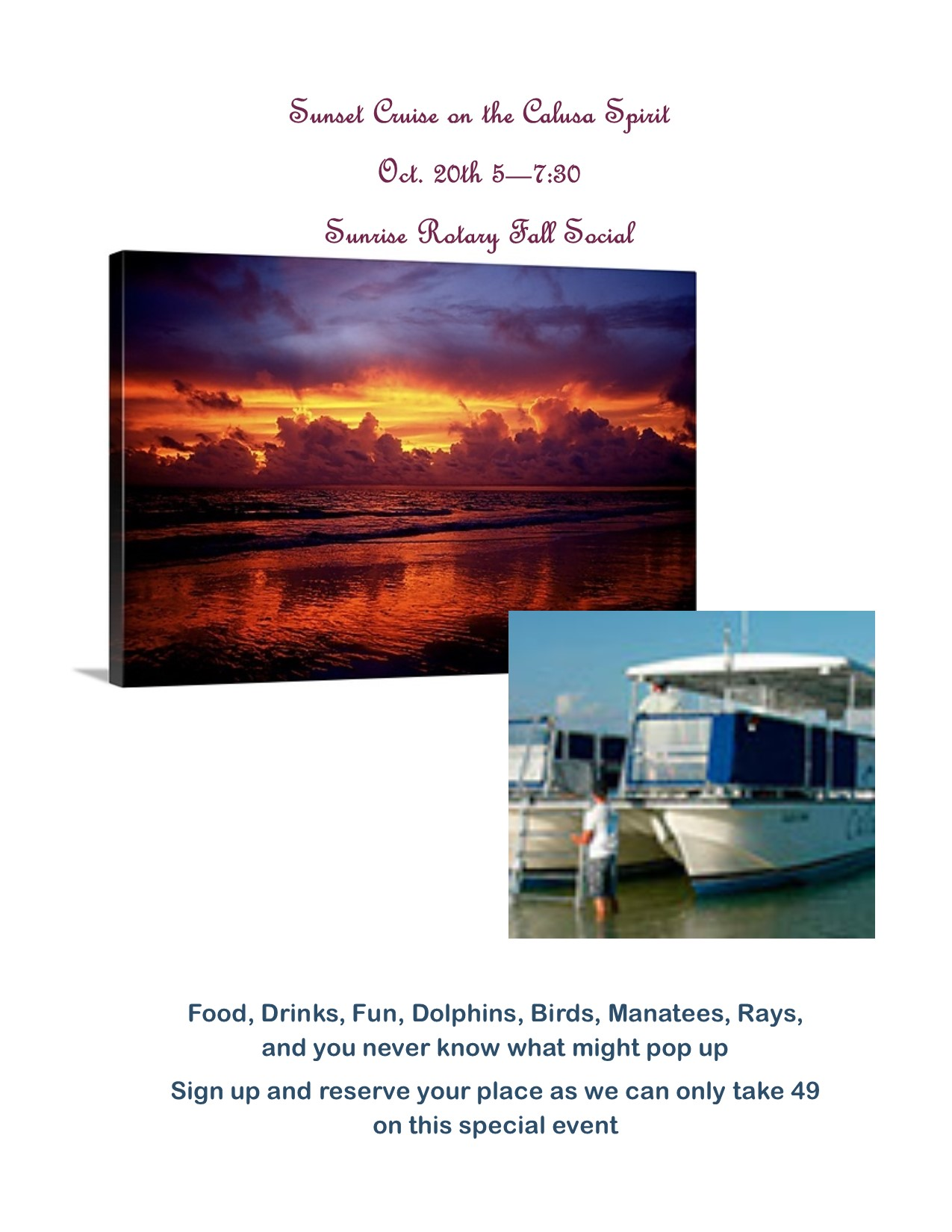 Sunrise Rotary Fall Social Calusa Spirit Sunset Cruise
