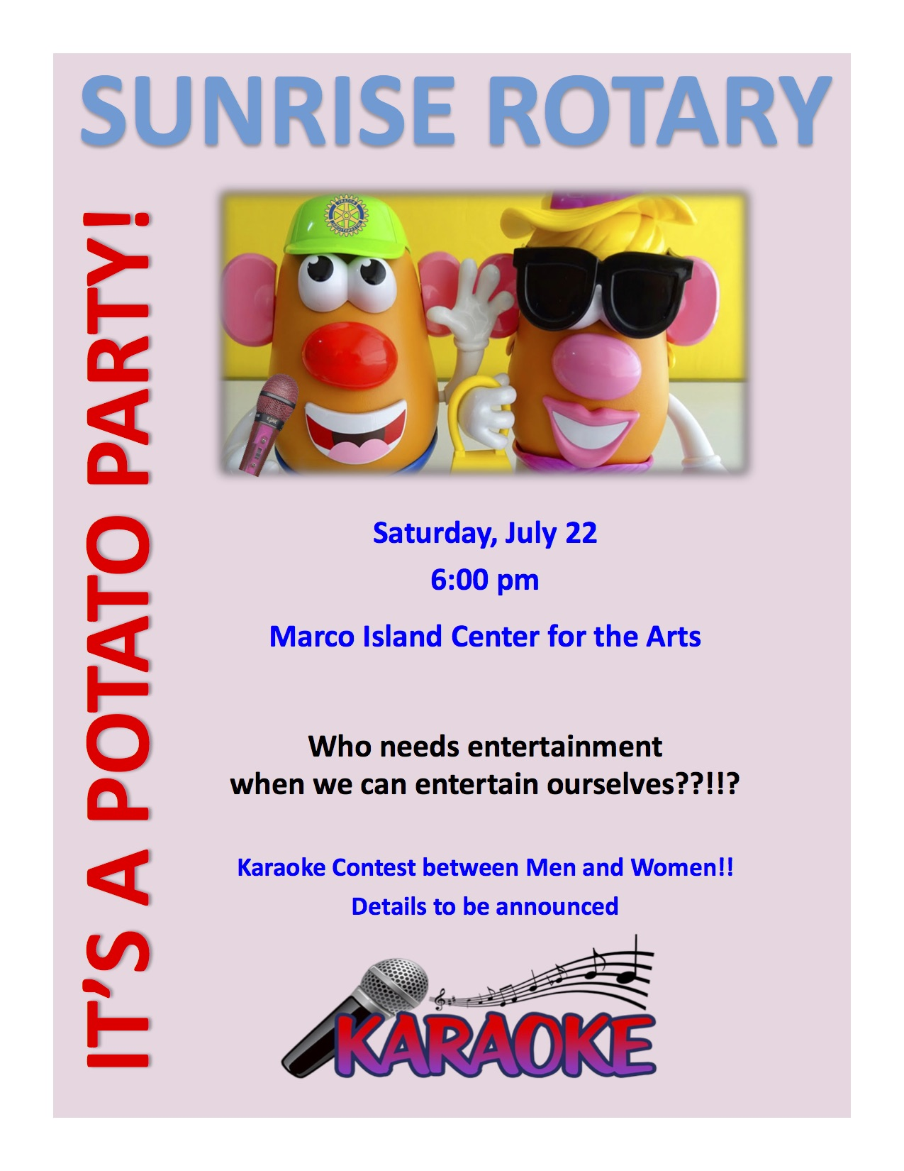 Sunrise Rotary Social Potato Party and Karaoke